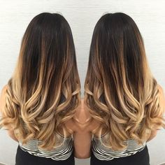 High contrast ombre today. My new client had let her boyfriend throw box dye on her hair a little while ago and he did it in 20 mins  so she had spots and bands to say the least, also her hair was way past her butt so we cut like 10 inches before even starting! Phew! That saved me some time  result was a beautiful beach u blonde and made all those bands and spots disappear, very happy