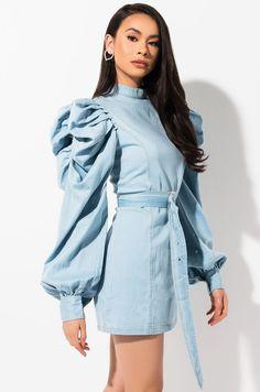Denim Outfits, Girl Outfits, Cute Outfits, Denim Editorial, Jeans Denim, Denim Blouse, Denim Fashion, Womens Fashion, Long Sleeve Mini Dress