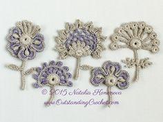 Crochet Flower Motif Applique Pattern - Set of 5 - PDF instant download - Irish Crochet Flower Motif Patterns by OutstandingCrochet on Etsy