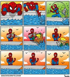 """""""Spiderman catches a fish, but Aquaman makes him pay in Monterey Bay""""🐟🐠"""