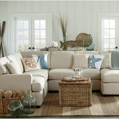 Get inspired by Coastal Living Room Design photo by Krista + Home. Wayfair lets you find the designer products in the photo and get ideas from thousands of other Coastal Living Room Design photos. Beach Living Room, Home Living Room, Living Room Furniture, Living Room Designs, Apartment Living, Coastal Furniture, Cottage Living, Furniture Decor, Apartment Kitchen