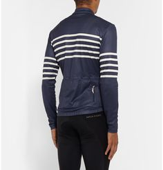 <b>Classic Breton stripes are French cycling specialist <a href='http://www.mrporter.com/mens/Designers/Cafe_du_Cycliste'>Café du Cycliste</a>'s signature motif.</b> - Perfect for cool-weather riding, this 'Claudette' jersey is constructed from technical fabric blended with merino wool for warmth and a touch of silk for comfort - Ample stretch allows a comfortable range of motion - Lightweight, highly moisture-wicking, odour-resistant and quick-drying<br><br>
