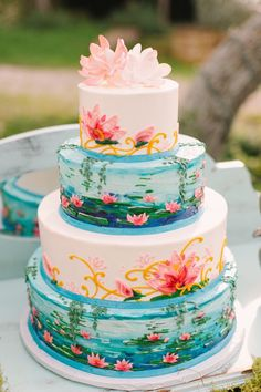 Monet's water lilies inspriation painted wedding cake