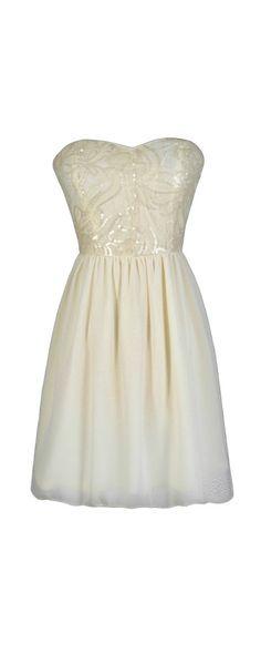 Creme Brulee Sequin Embellished Dress in Ivory  www.lilyboutique.com