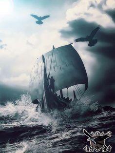 Viking ship art.  #vikingships #artwork
