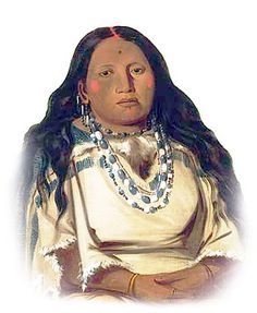 Arikara Woman - Kah-béck-a, The Twin, Wife of Bloody Hand, 1832, Arikara / Sahnish tribe. George Catlin (1796-1872). Painted at the Mandan village in 1832. Note the richly detailed treatment of the trade bead necklaces worn by The Twin.
