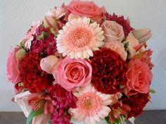 Bridal Bouquet: Roses, Carnations, Alstromeria, Gerberas, Lilies, Stock .