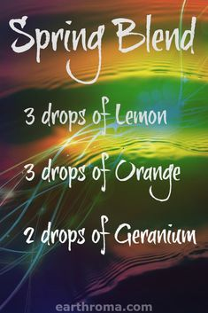 Essential Oil Spring Blend diffuser recipe will freshen up y our day. 3 drops of Lemon Essential oil.  2 Drops of Orange Essential oil. 2 drops of Geranium Essential oil. Place in your diffuser and enjoy this natural air freshener!