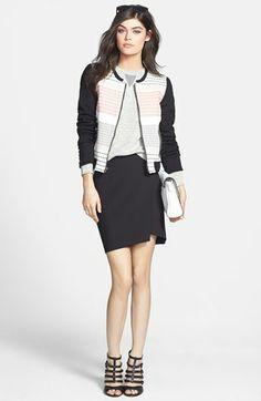 Ella Moss Jacket, J Brand Sweatshirt & Trouvé Miniskirt  available at #Nordstrom