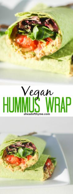 Vegan Hummus Wrap: This vegan hummus wrap is quick, simple and, best of all, healthy! Follow this easy recipe for a delicious lunch   aheadofthyme.com via @aheadofthyme
