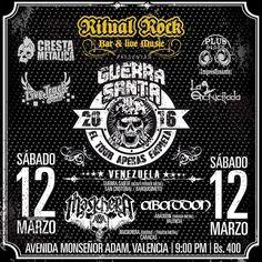 """Ritual Rock Bar presenta: """"Guerra Santa – El Tour Apenas Empieza 2016"""" http://crestametalica.com/events/ritual-rock-bar-presenta-guerra-santa-el-tour-apenas-empieza-2016/ vía @crestametalica"""