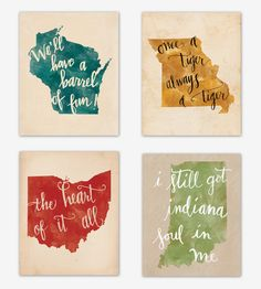 Midwest States Watercolor Art Print   Accompanied by a song lyric, quote or saying related to the pl...   Posters