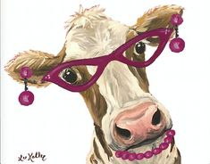 Whimsical Cow Canvas Art Print, Funny cow art, cow with glasses. Colorful Cow decor from original cow on canvas painting Farm Paintings, Animal Paintings, Cow Canvas, Cow Decor, Cow Pictures, Cute Cows, Funny Cows, Cow Painting, Cow Art
