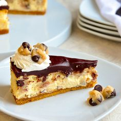 Chocolate Chip Cookie Dough Cheesecake - made with an egg free cookie dough.