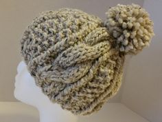 Oatmeal Cable Knit Hat with Pom Pom- Chunky Cable Knit Hat - Pom Pom Cable Hat - Cozy Cable Hat with Pom Pom - Women Cable Knit Hat by SillyLittleBlackCat on Etsy