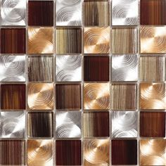 Aluminum Glass Tile Copper Blend 2x2