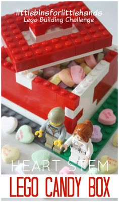 Valentine's Day, Legos, and Science! Lego Candy Box for Candy Hearts Activity STEM . Building activity, #Lego