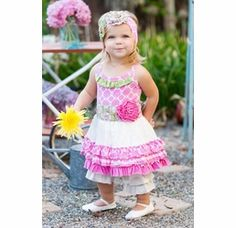 "Giggle Moon ""Lilly of the Valley"" Tutu Dress with Ruffle Capris"