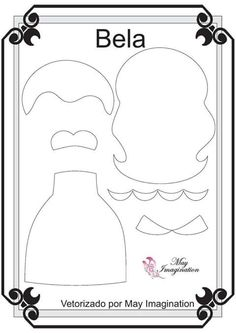 Template Princess in Felt The Beauty Quiet Book Templates, Felt Templates, Felt Diy, Felt Crafts, Diy And Crafts, Felt Doll Patterns, Stuffed Toys Patterns, Felt Dolls, Paper Dolls
