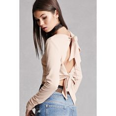 Forever21 Tie-Back Cropped Sweater (59 CAD) ❤ liked on Polyvore featuring tops, sweaters, nude, long sleeve sweater, cropped sweater, forever 21 sweaters, open back long sleeve top and tie back crop top