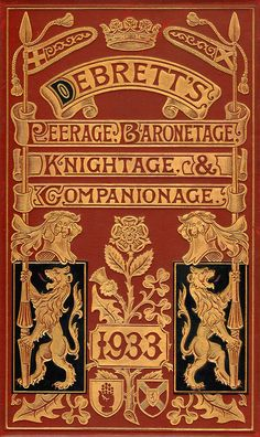 embossed leather covers titled and highlighted with gilt detailing Debrett's Peerage 1933