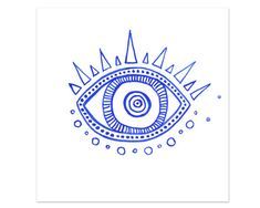 "Evil Eye III Mini Art Print hamsa, specimen, curiosity watercolor giclee print 5x7"", 8x10"""