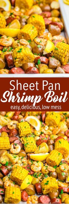 Sheet Pan Shrimp Boil: A delicious shrimp boil recipe that anyone can make. This low country style shrimp boil is perfect for a weeknight dinner or a weekend party. With ingredients like corn potatoes seasoning sausage and of course shrimp baked on a Seafood Dishes, Seafood Recipes, Seafood Boil, Sausage And Shrimp Recipes, Shrimp Dinner Recipes, Cajun Boil, Shrimp And Sausage Gumbo, Shrimp Meals, Seafood Platter