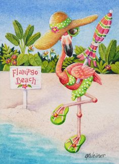 OFF SALE Beach Babe Flamingoes No. 2 Miniature Art - Limited Edition ACEO Giclee Print reproduced from the Original Watercolor Flamingo Painting, Flamingo Art, Pink Flamingos, Flamingo Pictures, Flamingo Beach, Beach Babe, Ocean Beach, Summer Beach, Limited Edition Prints