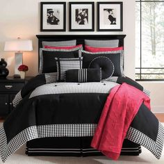 Graphic Punch In Black And White Crisp Feel Design Pinterest Houndstooth Bedrooms
