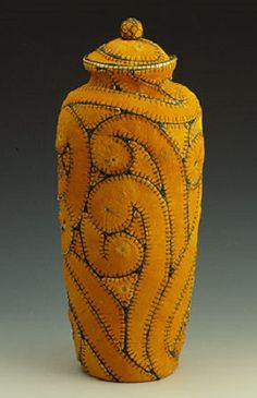 """yellow - Jan Hopkins """"In Stitches"""", 2001 - orange peel, waxed linen and paper - photography Jerry McCollum Creative Textiles, Found Object Art, Paperclay, Weaving Art, Textile Artists, Mellow Yellow, Fabric Art, Basket Weaving, Textures Patterns"""
