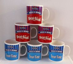 Box of SIX McVITIES Mugs. ALL IN ONE Slogan. TREAT TIME Series. STAFFORDSHIRE.