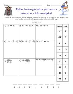 An Adding Integers Christmas Worksheet/Puzzle | Seasons, Trees and ...