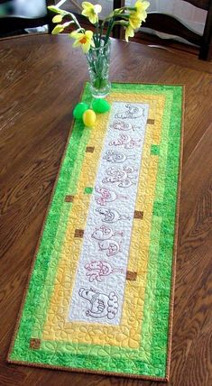 Advanced Embroidery Designs. Free Projects and Ideas. Easter-themed Table Runner with redwork embroidery.
