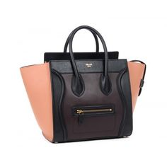 Celine Boston Luggage Leather Bags black with purplish red 2014 New