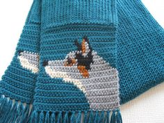 Australian Cattle Dog. Teal crochet scarf with blue heeler dogs. Knit dog scarf