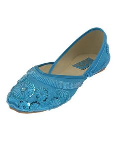 Look what I found on #zulily! Turquoise Floral Beaded Flat #zulilyfinds