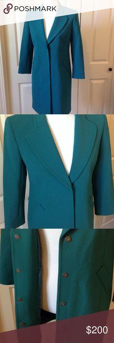 "Green Dress Coat Magnet snap closure. 34"" long. 63% polyester 27% viscose 7% cotton 3% spandex Classiques Entier Jackets & Coats"