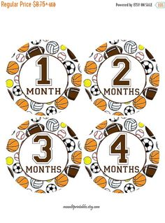 SALE Monthly Baby Sports Stickers Sports by MoonLitPrintables