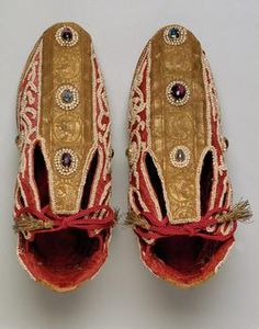 Coronation shoes of the Holy Roman Emperors, originally 12-13th century, altered in the 17th century. At the Kunsthistorisches Museum Wien, Weltliche Schatzkammer. Inv.-Nr. SK_WS_XIII_13