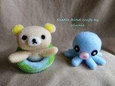 Needle felted bath toy Bear and Octopus by FunFeltByWinnie on Etsy, $28.00