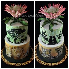 South African Wedding Cake. Hand painted using coca butter. Sugar protea. Royal iced. Completion work and awarded a Gold Medal. @Callicious Cakes http://www.facebok.com/callicious