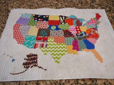 United States Quilt Map made with scrap fabrics by Material Mary