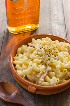 This Bourbon Mac and Cheese recipe is a grown-up version loaded with bacon, spiked with bourbon and contrasted with sharp cheddar.