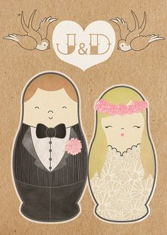 Russian Doll Wedding Invitations by Chantal Lavender, via Behance www.matrioskas.es