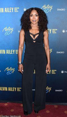 6512da3ea4bf Angela Basset flashes black bra beneath jumpsuit at Alvin Ailey Gala