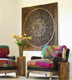 Lotus Wooden Wall Panel from Thailand. Authentic Teak Wood Hand Carved Decor. Asian Style (5'x5' ft. Light brown)