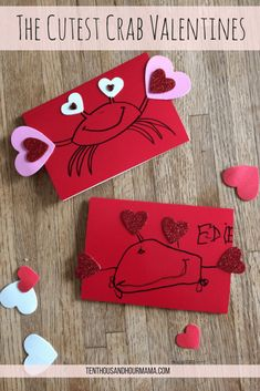 Handmade Valentine's Day cards // Cute + easy crab valentines. Ten Thousand Hour Mama
