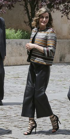 Letizia - In total Uterqüe: leather culotte, ethnic jacket and sandals
