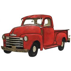 Enhance your manly decor with this tabletop Red Metal Truck Wall Decoration. Perfect for displaying in your man cave, garage, office, shop, and more, this truck features a classic old-style body and t