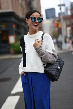 Lena Lademann, Blogger Bazaar, Tibi, Streetstyle, NYFW, Blogger, Blue Pants, Black and White, Style, Chanel